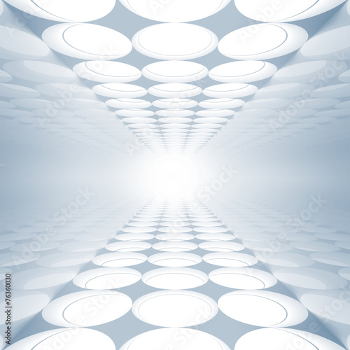 Blue abstract 3d interior with round decoration #76360830