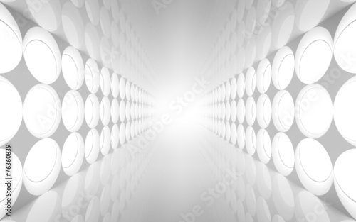 White abstract 3d interior with round decoration #76360839