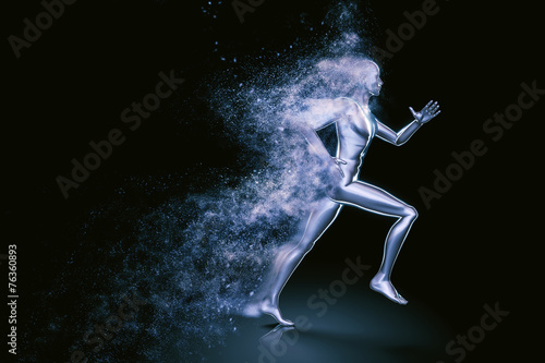 Fotografie, Obraz  Running 3D man shattered into dust