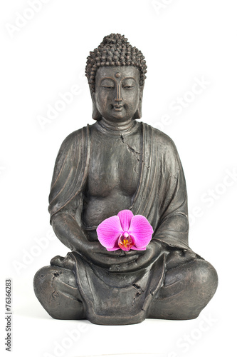 Fotografija  Buddha figure with orchid flower