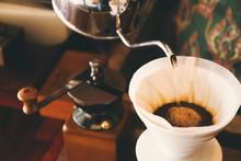 Vintage Color Tone : Cup Of Coffee In Coffee Shop