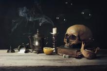 Vanitas With Skull And Tea Set...