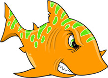 Angry Orange Shark Vector Illu...