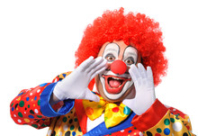 Portrait Of A Screaming Clown Isolated On White Background