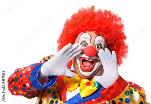 Fotografie, Tablou Portrait of a screaming clown isolated on white background