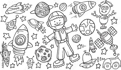 Türaufkleber Cartoon draw Outer Space Doodle Vector Illustration Art Set