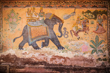 Indian Wall Painting With Elep...