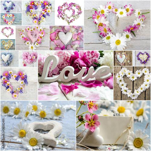 liebe romantik collage aus herzen und blüten  stock
