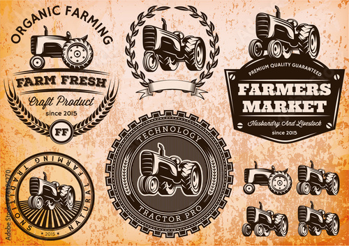 Photo set of labels with a tractor for livestock and crop