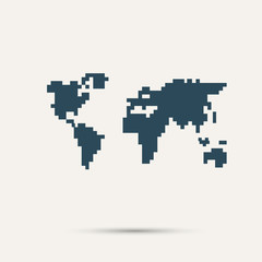 Fototapeta Simple style pixel icon continents. Vector design