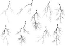 Group Of Nine Black Lightnings On White
