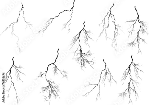 Fotografie, Obraz  group of nine black lightnings on white