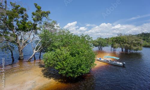 Beach and boat in the middle of Rio Negro, Brazil Slika na platnu