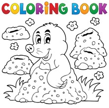 Coloring Book With Happy Mole ...