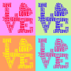 FototapetaCollage of colorful vintage pop art style words cloud LOVE