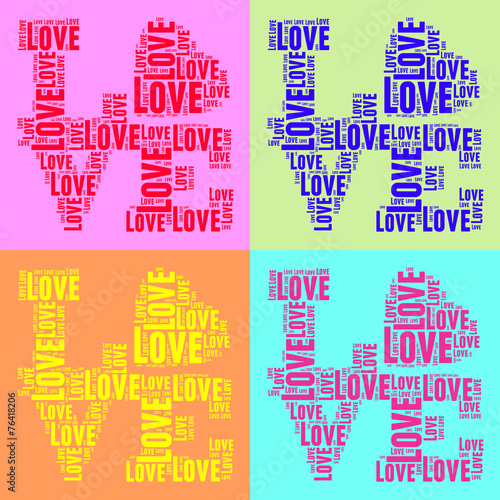 Collage of colorful vintage pop art style words cloud LOVE - 76418206