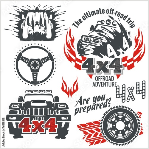 Off-road elements and emblem - vector set #76418813