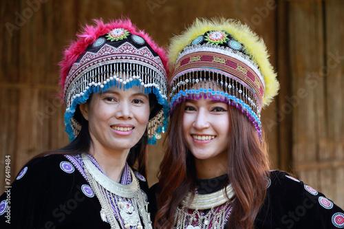 fototapeta na lodówkę Tradycyjnie ubrani Mhong Kobieta plemię wzgórza