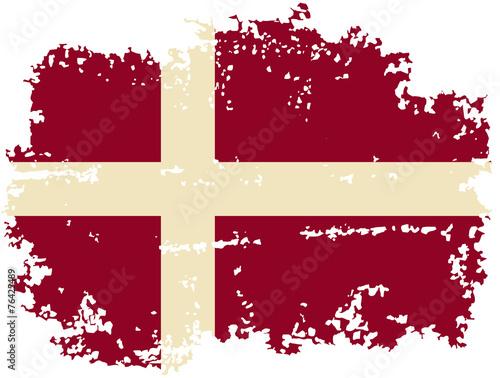 Danish grunge flag. Vector illustration. Fototapete