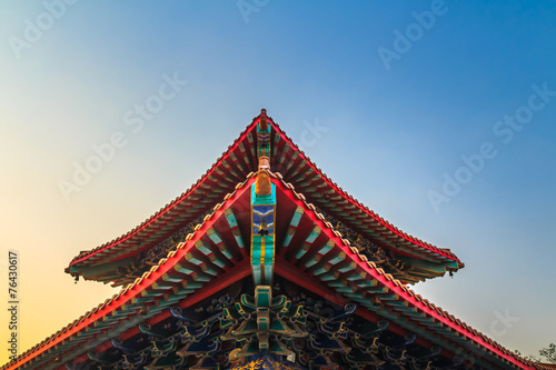 The Chinese temple roof Wallpaper Mural