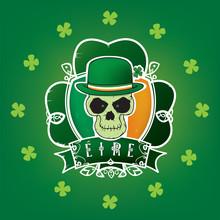 Lucky Irish Skull.St.Patric's Day Illustration Vector