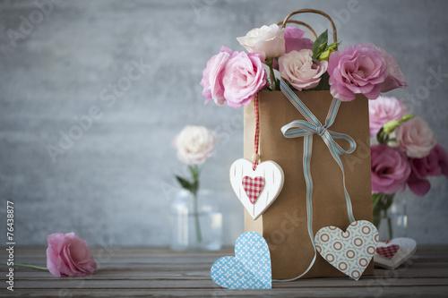 Foto op Plexiglas Retro Love's still life background with roses