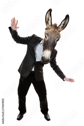 Photo  Businessman with donkey head