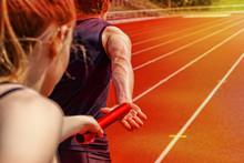 Relay Race Handing Over Female Male