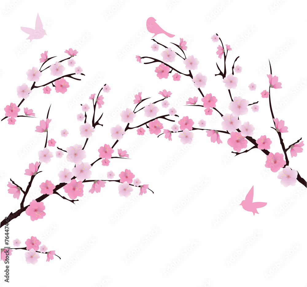 Naklejka Ozdobna Tatuaż ścienny Kwiat Wiśni