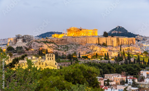 In de dag Athene View of the Acropolis of Athens - Greece