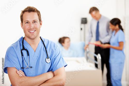Fotografie, Obraz  Hospital: Cheerful Male Nurse in Hospital Room