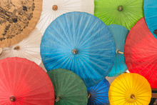 Colorful Of Umbrella In Chiang Mai Market, Thailand