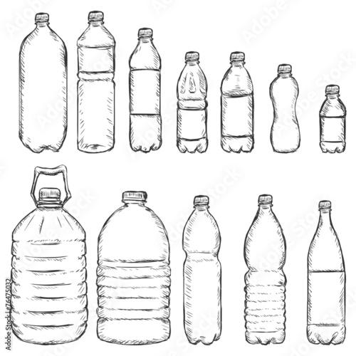 Fotografia, Obraz  Vector Set of Sketch Plastic Bottles