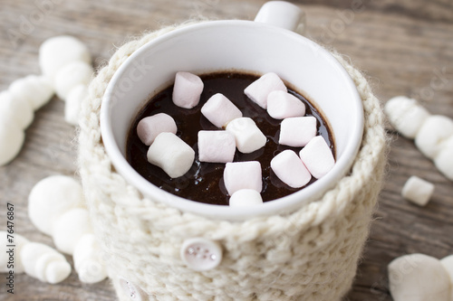 Spoed Foto op Canvas Chocolade hot chocolate and marshmallows