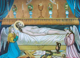 Fototapeta Do kościoła Jesus Christ in the tomb - old printed image