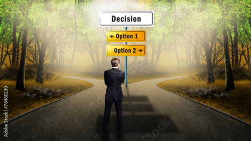 Fotografie, Obraz  businessman has to decide between 2 options