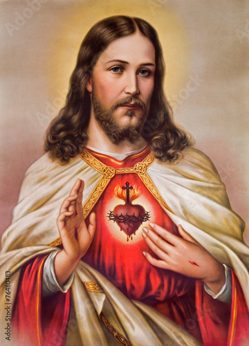 Fotografia, Obraz  Typical catholic image of heart of Jesus Christ