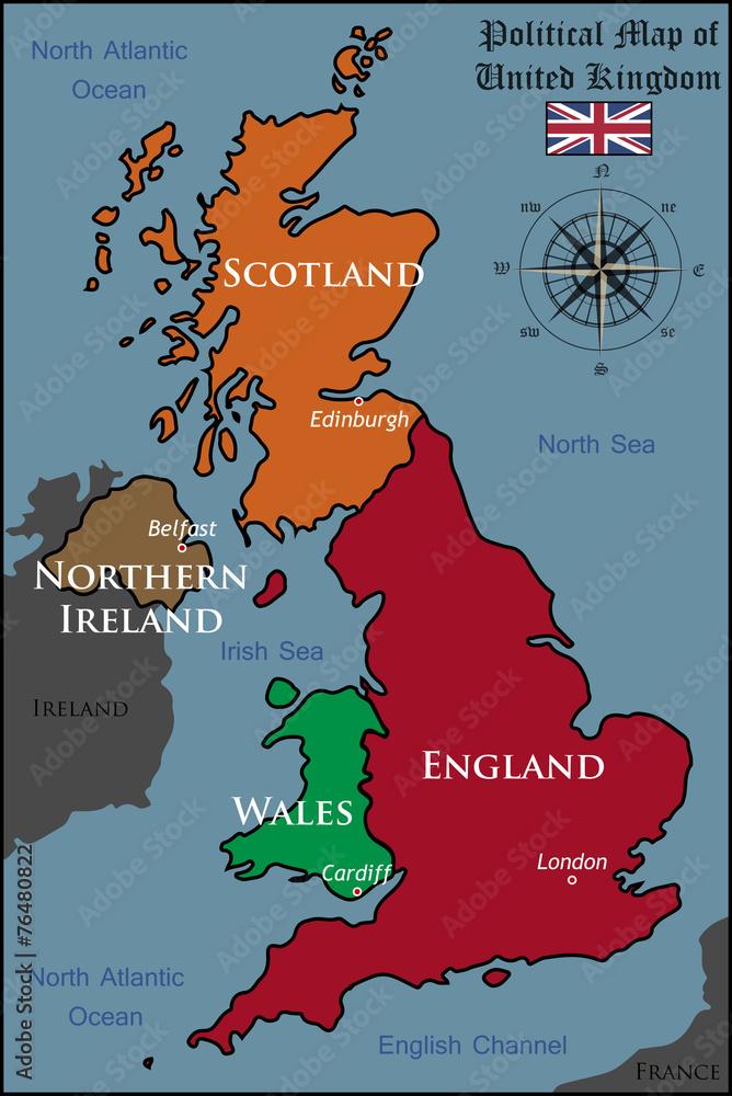 Fototapeta Na Sciane Polityczna Mapa Wielkiej Brytanii Wally24 Pl