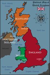 fototapeta polityczna mapa Wielkiej Brytanii