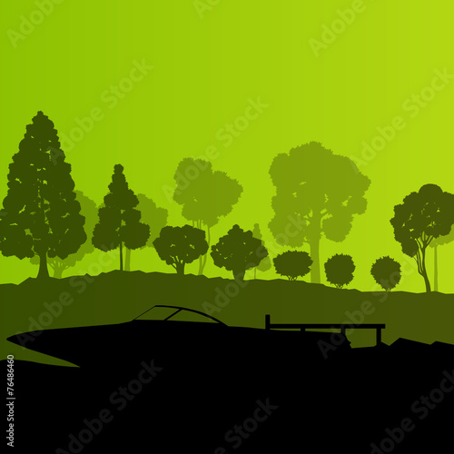 Poster Lime groen Yacht boat vector background landscape vector with sea coast and