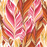Texture with feathers in warm colors