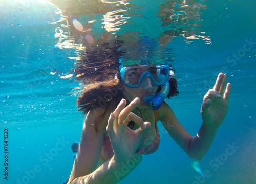 Poster Zanzibar Sexy girl snorkeling in Maldives