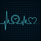 Heartbeat with a clock symbol in line stock vector