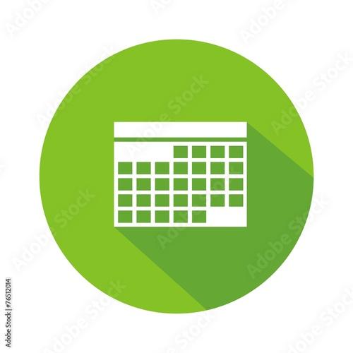Icono calendario verde botón sombra Canvas Print