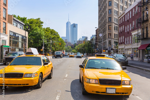 Poster New York TAXI New York West Village in Manhattan yellow cab