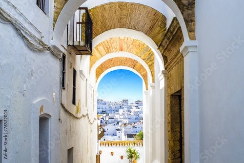 Typical street in Vejer de la Frontera, Andalusia, Spain. Wallpaper Mural