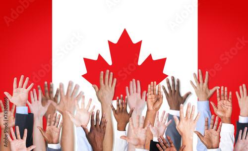 Spoed Foto op Canvas Canada Reach Hands Raised Canada Flag Diverse Ethnic Concept
