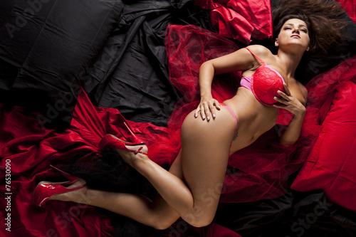 Fotografia, Obraz  Woman posing in erotic lingerie.