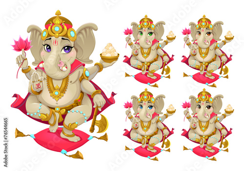 Photo  Ganesh in 5 different colors