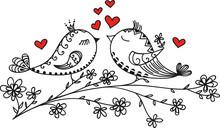 LOVE BIRDS, VALENTINE`S DAY, HEARTS